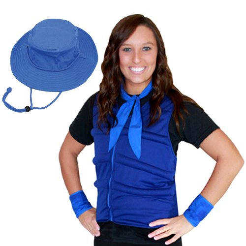 Woman wearing a blue cool comfort evaporative cooling vest, neck tie and wrist wraps with bucket hat