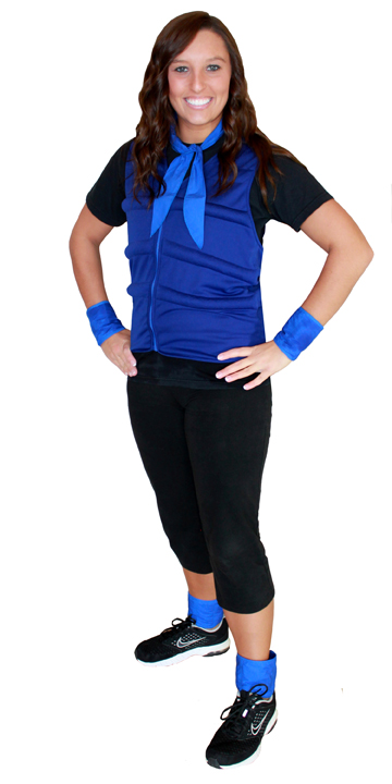 Woman wearing a blue cool comfort evaporative cooling vest, neck tie, wrist wraps and ankle wraps