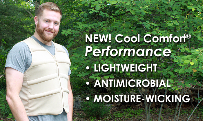 Man wearing Cool Comfort evaporative cooling vest in the woods