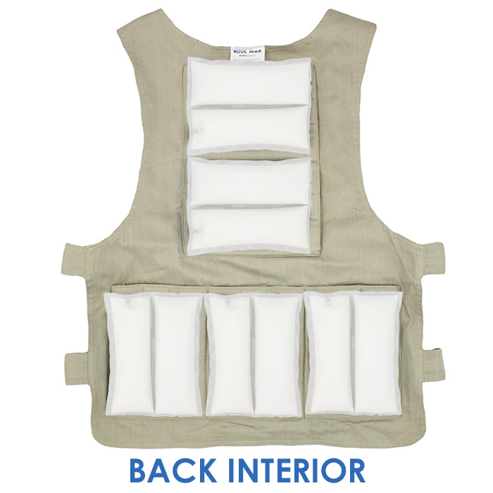 Back interior of a M/L Cool58 zipper front vest with five pack pockets and five Cool58 4.5 x 6 inch phase change cooling packs