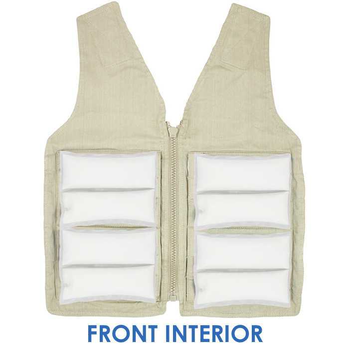 Front interior of a M/L Cool58 zipper front vest with four pack pockets and four Cool58 4.5 x 6 inch phase change cooling packs