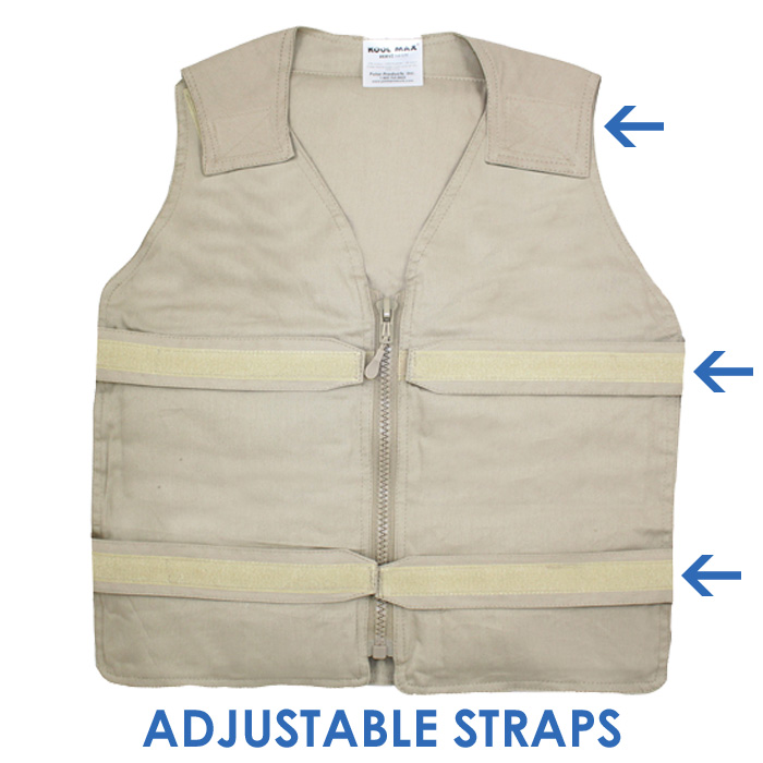 Front of a khaki Cool58 adjustable zipper front cooling vest