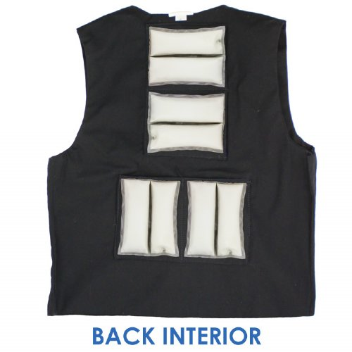 Back interior of Cool58 men's fashion vest with four pack pockets and four 4.5 x 6 inch Cool58 phase change cooling packs