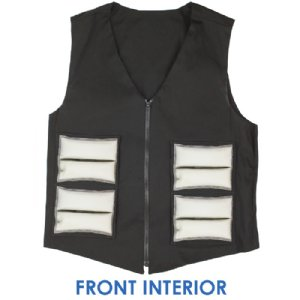 Front interior of Cool58 men's fashion vest with four pack pockets and four 4.5 x 6 inch Cool58 phase change cooling packs