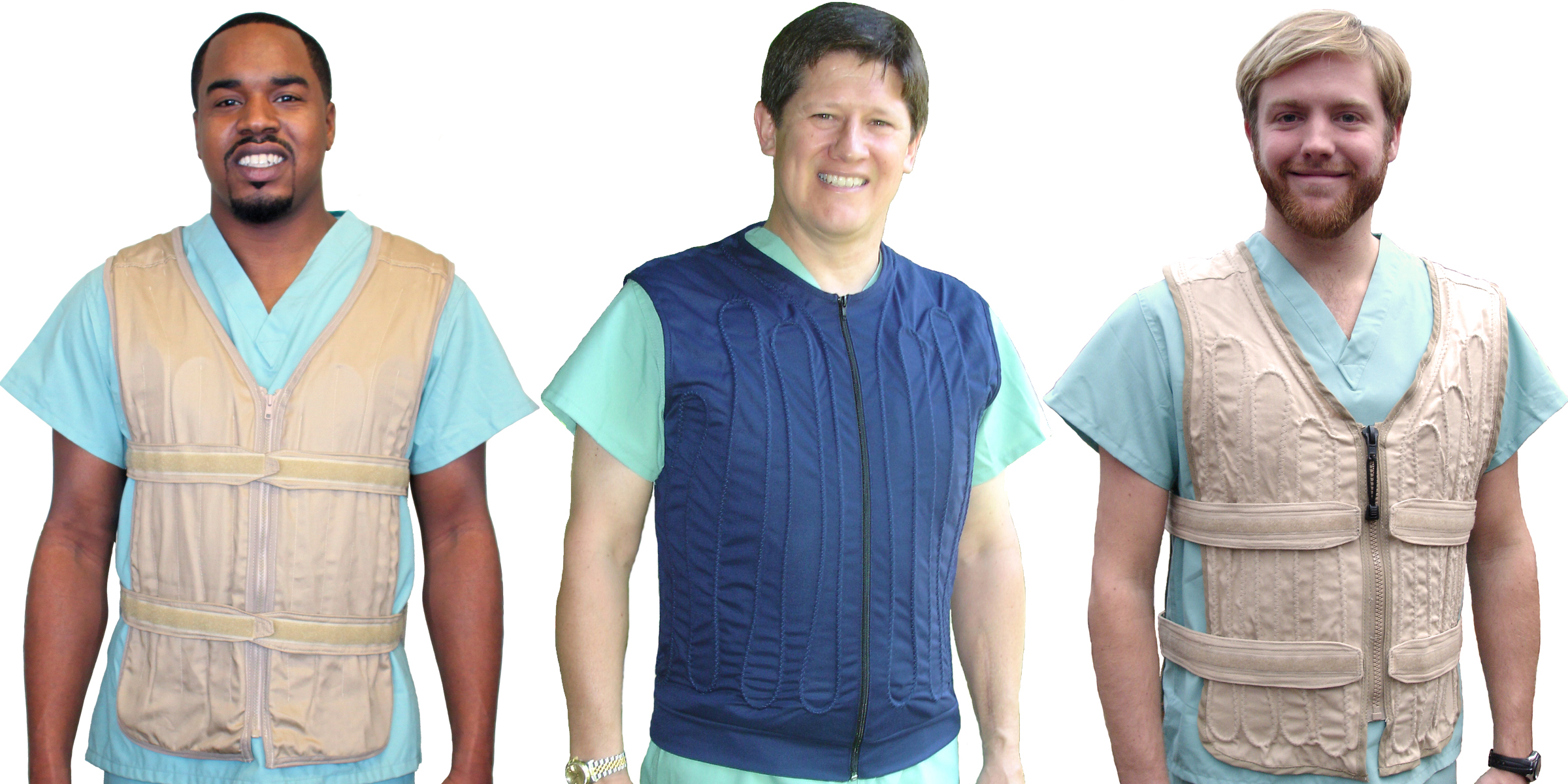 Three men wearing cool flow adjustable and cool flow fitted, circulating cold water cooling vests